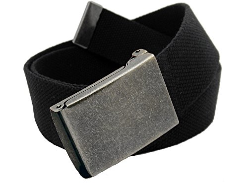 Boys School Uniform Distressed Silver Flip Top Military Belt Buckle with Canvas Web Belt Large Black