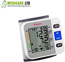 Jumper Portable Digital Wrist Blood Pressure Monitor with LCD Display, Irregular Heartbeat Detection, Automatic Shut-Off Function for Home and Medical Use CE Approved