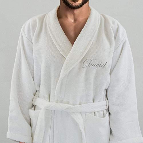 Hotel Edition Blanco de Matrimonio/Terry Albornoz de Hombre, con Plata Nombre (en la Parte Delantera) Personalizado, algodón, Blanco, Small