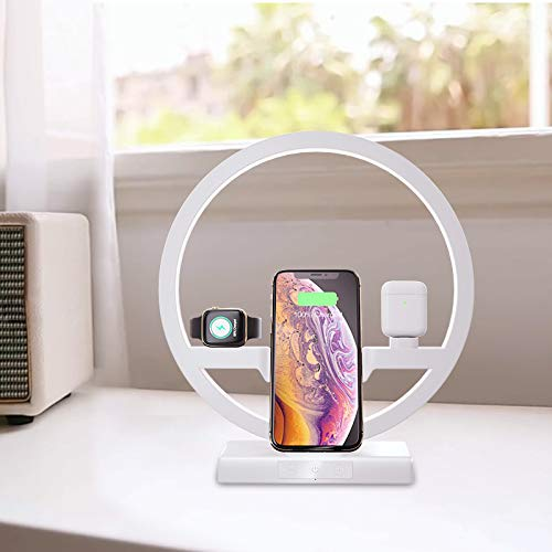 TTLIFE Cargador inalámbrico con lámpara LED, estación de carga inalámbrica 3 en 1 para AirPods Apple Watch 5/4/3/2, iPhone 11/XS/XS Max/XR/X / 8, 3 tipos de luces ajustables