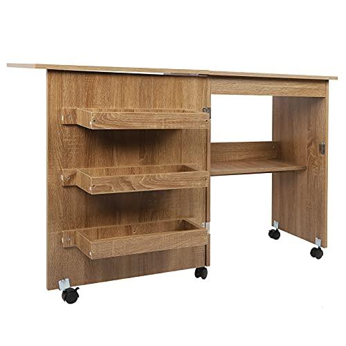 Mesa de coser Carrito plegable para manualidades Escritorio de madera con estantes de almacenamiento Ruedas con cerradura Marrón
