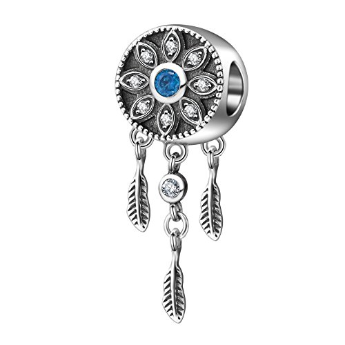 Dream Catcher Bead Charms 925 Sterling Silver Crystal Pendant Feather Flower Charm for European Bracelet Necklace