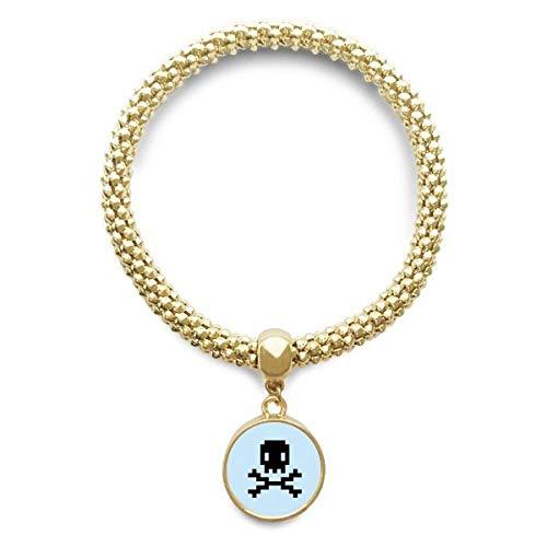 DIYthinker Womens zomer zeil prijs gevaar schedel pixel gouden armband ronde hanger sieraden ketting