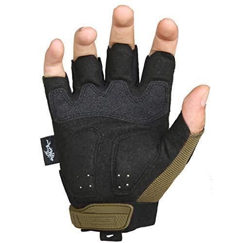 FREE SOLDIER Sport Handschuhe Taktische Motorradhandschuhe Herren Halbfinger Handschuhe mit gepolstertem Ideal für Fahrrad Airsoft Militär Paintball Kletter und andere Outdoor Aktivitäten Braun S - 2