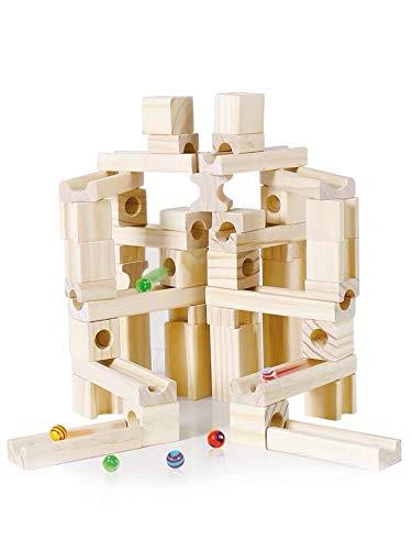 Mag-Building 積み木 知育玩具 つみき ビー玉 転がし スロープ 木製 立体パズル おもちゃ 誕生日 入学 入園 クリスマス プレゼント 国内玩具安全基準試験合格 (60pcs)