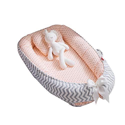 TEALP Reducteur de lit Bebe Cocon, réducteur Lit Bébé, Nid pour nouveau-né nourrisson, baby nest pour bébé couffin de voyage portable, étoile vague rose