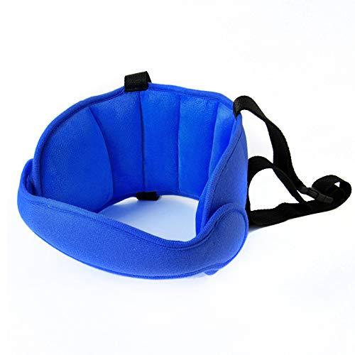 Almohada de dormir fija de cabeza de bebé ajustable para niños Asiento cabeza apoya el cuello Protección de seguridad Pad reposacabezas Niños Almohada de viaje (azul oscuro)
