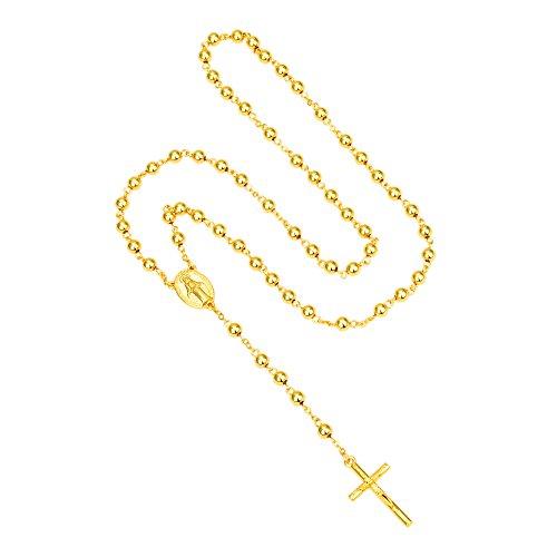 New katholischen 6mm Perlen 18K vergoldet Lange Rosenkranz Halskette