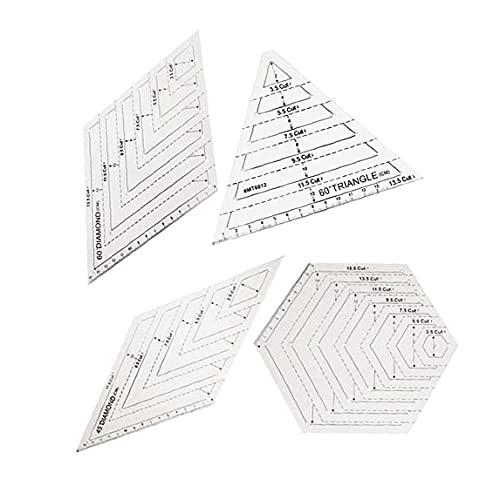 DealMux - Plantillas de patchwork para acolchar, triángulo transparente, hexágono, 60 45 grados para coser, zócalos, manualidades, 4 piezas, decoración del jardín del hogar