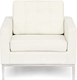 Kardiel Florence Knoll Style Chair, Cream White Aniline Leather