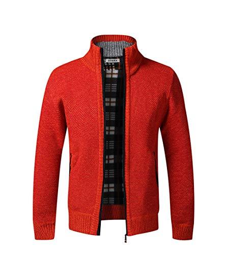 Cárdigan de Punto para Hombre, suéter Grueso con Cremallera Completa y Cuello Alto, cálido suéter con Forro Polar para Invierno(Orange Red XXL)