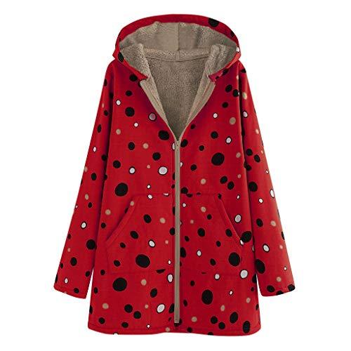 Dames Jassen 2019 Nieuwe Vrouwen Mode Winter Warm Comfortabele Pocket Rits Lange Mouw Pluche Hoodie Jas Dames Vintage Dot Print Hasp Jassen