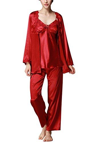 Dolamen Pijamas para Mujer, Pijamas Mujer Invierno Verano, 3-in-1 Mujer Camisones, Satén Suave y cálido Manga Larga y Pantalones Largos, Mujer Largo Camisones Raso Satin Pijamas (XXX-Large, Rojo)