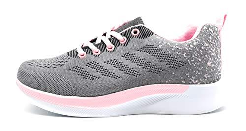 Zapatillas Deportivas Mujer Running Ligero Malla Transpirable con Cordones Zapatillas de Deporte para Mujeres Fitness Correr Atletismo Caminar Andar Gimnasia