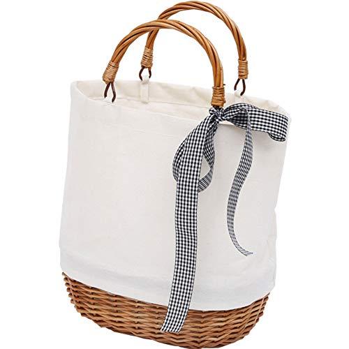 KIKTS handtas gevormde hoge handvat rieten witte winkelmandjes collectie geschenkhamer met stof voering - 26 X 19 X 29Cm(H)