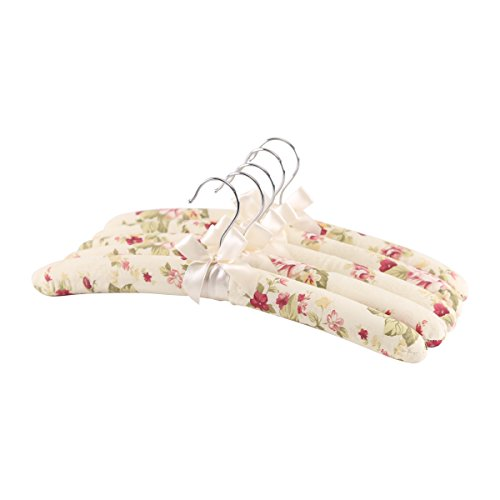 NEOVIVA Tela Perchero para Mujer con Acolchado de Esponja, Pack de 5, Beige, 38 cm