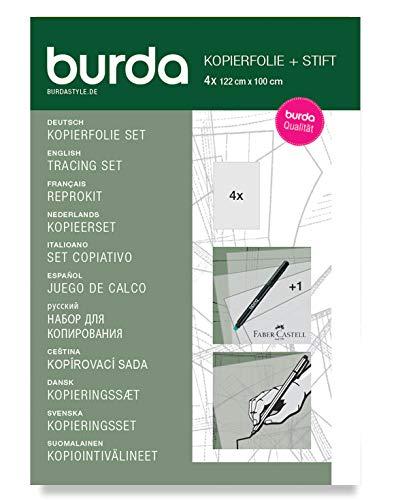 Burda Style Kopierset: Kopierfolie und Stift | Zum Abpausen | 4 Blätter 122 x 100 cm, Einheitsgröße