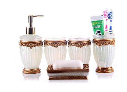 Yiyida Badezimmer Set 5 TLG Gold Badset aus Harz Luxuriöses Barock Champagner Badezimmer Zubehör Set mit Becher, Seifenschale,Seifenspender und Zahnbürstenhalter