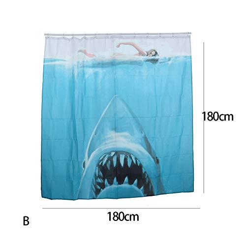 oppinty Wasserdicht Polyester Schimmel widerstandsfähig Bad Vorhang Hazard Haze Jaw Shark Muster Weiß Duschvorhang Mit Haken Badezimmer-In DecorDuschvorhänge 180 * 180 cm