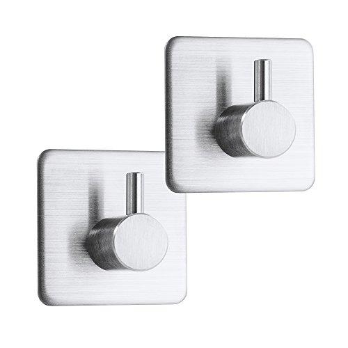 Selbstklebende Handtuchhaken Silber matt aus hochwertigem SUS 304 Edelstahl ideal als Handtuchhalter und Wandhaken für Bad und Küche Starker Halt durch 3M Klebeband kein Bohren von Gutary