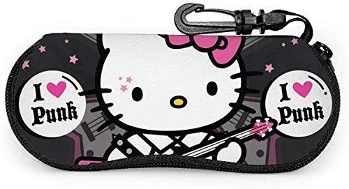 Hello Kitty Brillenetui Sonnenbrille Softcase Neopren Tragbarer Reisereißverschlusshaken