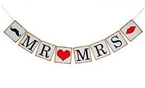 Demarkt slinger met wimpelketting, papieren vlaggen, bruiloft, verjaardag, feest, decoratie, BACHELO RETTE met 2 harten 13 x 13 x 300 cm Mr Mrs met 1 baard en hart en mond.