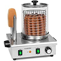 Klarstein Wurstfabrik Pro 550 máquina de perritos calientes - 550 W, 2 pinchos, regulador de temperatura entre 30 y 100 °C, cilindro de vidrio de Ø 20 cm, jaula de acero de Ø 17 cm, acero, plateado