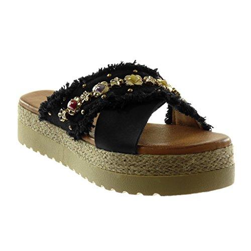Angkorly - Damen Schuhe Mule Sandalen - Slip-On - Plateauschuhe - Schmuck - ausgefranst - Seil Keilabsatz high Heel 4.5 cm - Schwarz 151-94 T 41