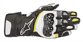 Alpinestars Men s SP-2 v2 Leather Motorcycle Riding Glove Black/White/Yellow Medium