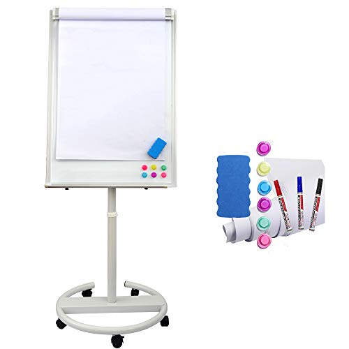 Dexboard Mobile Dry Erase Easel 40 x 28 inch, Rolling Round Stand Whiteboard w/Flipchart Pad, Magnets, Markers & Eraser