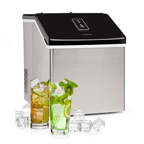 Klarstein Clearcube Black Edition - Máquina de cubitos de hielo, Hielo transparente, Producción 13 kg/24h, Refrigerante R600a, Display táctil, Cubierta resistente de acero inoxidable, Negro