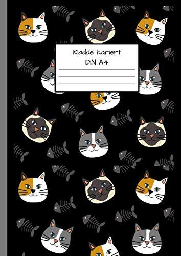 Kladde Kariert DIN A4: Notizbuch DIN A4 - Kladde kariert 5 mm - 110 Seiten - Notizheft, Tagebuch, Schreibbuch - Katzen- und Kätzchenmuster