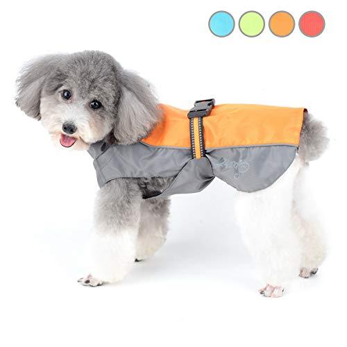 Zunea Regenmantel für kleine Hunde Wasserdicht Reflektierend Regenjacke Winddicht Leicht Netzfutter Regenschutz Welpen Kleidung für Jagd, Wandern, Chihuahua Bekleidung für nasse Tage Orange XL