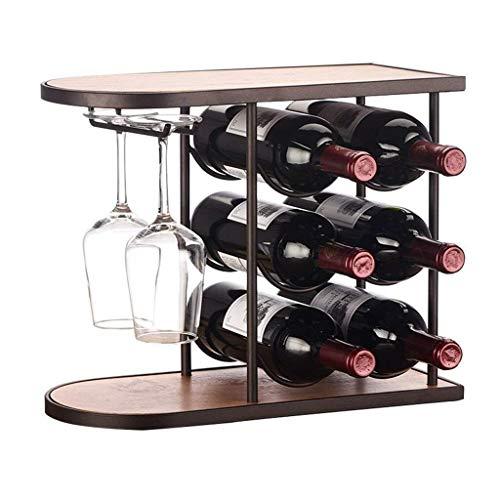 Estantería de vino Mesa de estante de vino Estante colgante 6 botellas de vino Vaso 2 Apilamiento de copa de vino Soporte de soporte de vino Gabinete de metal de hierro Soporte de almacenamiento de bo