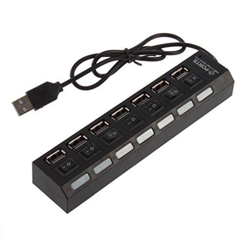Kesilian USB 2.0 de 7 Puertos hub de Alta Velocidad con Interruptor on/Off Divisor del Adaptador de Carga del teléfono