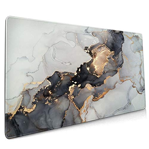 Gold Marble Extended Gaming Mouse Pad Non-Slip Rubber Base Large White Mousepad 35.4×15.7in with Stitched Edge Waterproof Thick Keyboard Pads Black Computer Desk Laptop Mats for Work & Game & Office