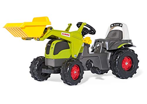 Rolly Toys S2602507 rollyKid CLAAS Elios Trettraktor (für Kinder von 2,5 bis 5 Jahre, mit Frontlader, Überrollbügel, Heckkupplung) 25077