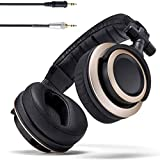 YAN QING SHOP Audio CB-1 Closed Back Studio Monitor Headphones with 50mm Drivers - for Music Production, Mixing, Mastering and Audiophile Use (Black & Gold)