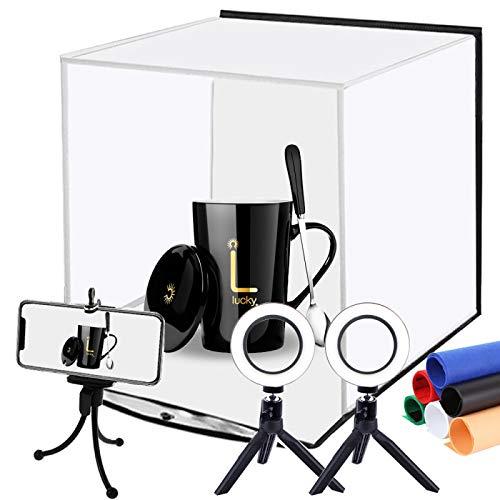 DUCLUS Foldable Photo Studio Box kit, Portable Photography Light Box with Dual Ring LED Light, Photo...