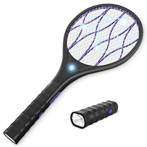 Yissvic Elektrische Fliegenklatsche extra stark 3800 V mit LED Beleuchtung und Abnehmbarer Taschenlampe USB aufladbar