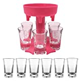 6 Ways Shot Glass Dispenser with 6 Acrylic Cups, Glasses Hanging Holder Stand Rack | Carrier Caddy Liquor Dispenser Gifts Drinking Games for Cocktail Party Get Togethers Girls Weekend(red)