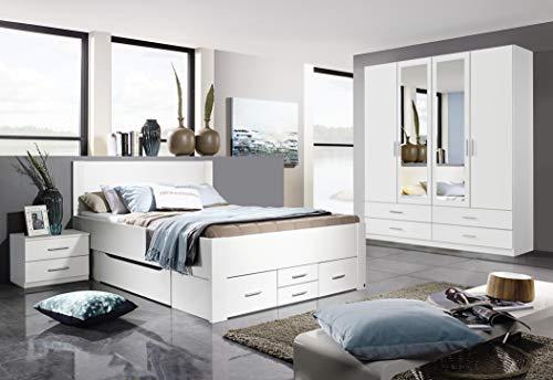 Rauch Schlafzimmer Komplettangebot Drehtürenschrank 4-türig, Schubkastenbett 140 x 200 cm, 1 Nachtkonsole alpinweiß