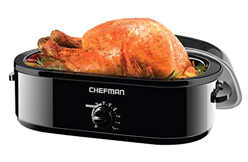 Chefman 14 Quart Roaster Oven Cooker w/High Dome Self-Basting Lid, Perfect for Slow Cooking, Baking, Serving & More, XL Family Size Fits 20 Lb Turkey or Roast, Removable Dishwasher Saf, Black