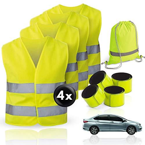 TNSport 4er Premium Warnwesten für Erwachsene (XL) Sicherheitsweste mit hoher Sichtbarkeit 360 Grad Reflektoren Pannenweste für Auto