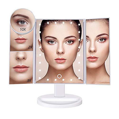 Lavcus Schminkspiegel mit Licht, 3 Seiten Kosmetikspiegel Faltbar Make-up Spiegel mit 24 LED-Beleuchtung, 1X 2X 3X 10X Vergrößerungsspiegel (Weiß)