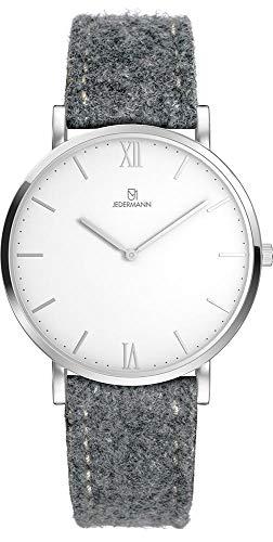 Herren Uhr Bauhaus-Stil Schweizer Uhrwerk Saphirglas weißes Ziffernblatt Gehäusedurchmesser 41mm Exklusives Lodenarmband aus 100% Merinowolle Freda JEDERMANN