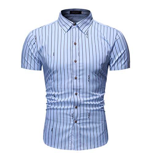 Yowablo Herren Kurzarm Shirt Freizeithemd Casual Hemden Leichte Atmungsaktives Bequem Loose Fit Gestreifter Knopf runter (XL,1Blau)