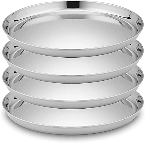 Velaze Stainless Steel Pizza Pan, 11.5-inch Round Baking Sheet Pizza Crisper Pan for Toaster Oven, Polished Baking Pie Pans Pizza Trays, Non Toxic and Dishwasher Safe, 4 Pack