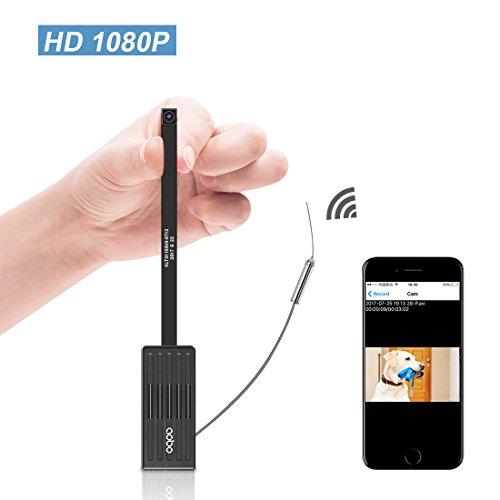 Mini Cámara Espía Boton AOBO 1080P HD Cámara Oculta Wifi Vigilancia Interior Cámara Portable Pequeña Casa Seguridad IP con Detectores de Movimiento Grabación de Bucle en Tarjeta SD Trabaja