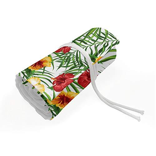 ABAKUHAUS Ibisco Trousse à Crayon Enroulable, Tropicale floreale Clima, Organisateur de Crayon Durable & Portatif, 36 Trous, Paprika Olive Green